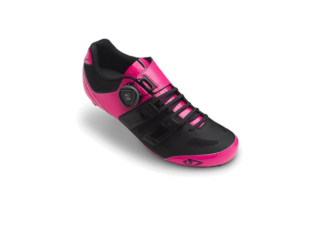GIRO Raes Techlace Women's Road Cycling Shoes Bright Pink/Black click to zoom image