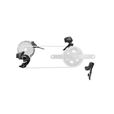 SRAM Force Etap Axs 2x D1 Electronic Flatmount Hrd Groupset (Shift/Hyd Disc Brake Sj Hose Connected, Rear Der And Battery, Front Der And Battery, 160 Rotors Clx, Charger And Cord, And Quick Start Guide): Black