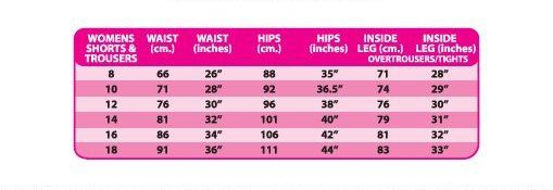 Altura ladies cycling shorts size chart